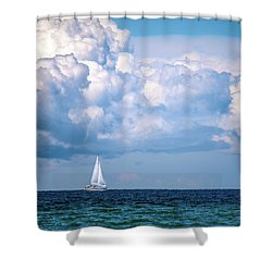 Sailing Under The Clouds Shower Curtain