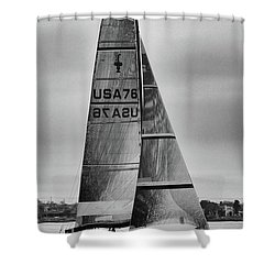 Sailing With Dolphins Shower Curtain by Mariola Bitner