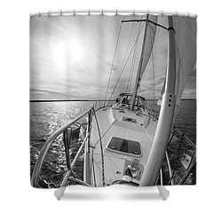 Sailing Yacht Fate Beneteau 49 Black And White Shower Curtain