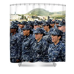 Shower Curtain featuring the photograph Sailors Yell Before An All-hands Call by Stocktrek Images