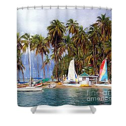 Sails And Palms Shower Curtain