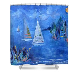 Sails And Sun Shower Curtain by Betty Pieper