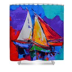Shower Curtain featuring the painting Sails Colors by Elise Palmigiani