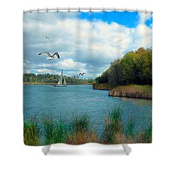 Sails In The Distance Shower Curtain by Cedric Hampton