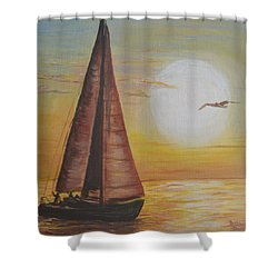 Sails In The Sunset Shower Curtain by Debbie Baker