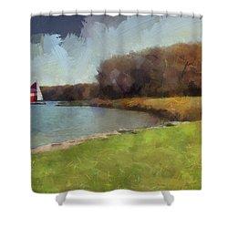 Sails On Lake Wampum Shower Curtain