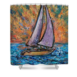 Shower Curtain featuring the painting Sails Up by Xueling Zou