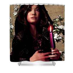 Saint Agnes Gui Ying Cao With Cherry Blossoms Shower Curtain by Suzanne Silvir