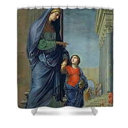 Saint Anne Leading The Virgin To The Temple Shower Curtain by Jacques Stella