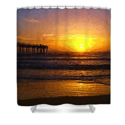 Saint Augustine Beach Sunrise Shower Curtain