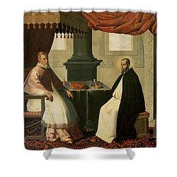 Saint Bruno And Pope Urban II Shower Curtain by Francisco de Zurbaran