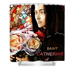 Shower Curtain featuring the painting Saint Catherine by Suzanne Silvir