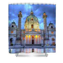 Saint Charles's Church At Karlsplatz In Vienna, Austria, Hdr Shower Curtain