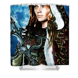 Shower Curtain featuring the painting Saint Dymphna 5 by Suzanne Silvir