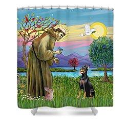 Saint Francis Blesses A Doberman Shower Curtain