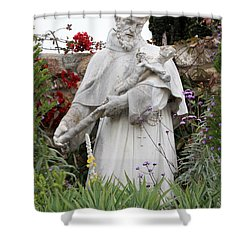 Saint Francis Statue In Carmel Mission Garden Shower Curtain by Carol Groenen