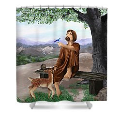 Shower Curtain featuring the painting Saint Francis by Susan Kinney