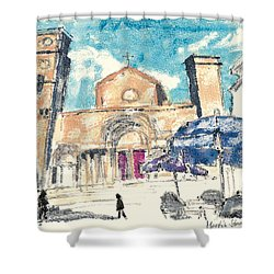 Shower Curtain featuring the painting Saint Gilles Abbey by Martin Stankewitz