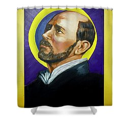 Shower Curtain featuring the painting Saint Ignatius Loyola by Bryan Bustard