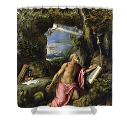 Saint Jerome Shower Curtain by Titian