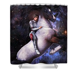 Shower Curtain featuring the painting Saint Joan Of Arc by Suzanne Silvir