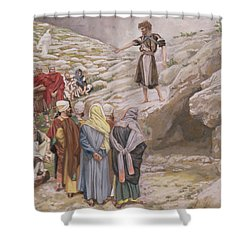 Saint John The Baptist And The Pharisees Shower Curtain by Tissot