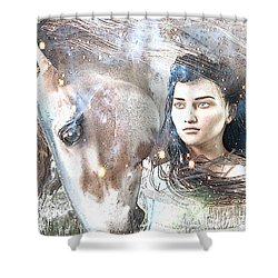 Shower Curtain featuring the painting Saint Kateri Poster by Suzanne Silvir