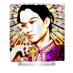 Shower Curtain featuring the painting Saint Lorenzo Ruiz by Suzanne Silvir