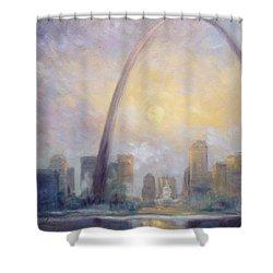 Saint Louis Skyline - Frosty Day Shower Curtain by Irek Szelag