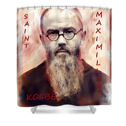 Shower Curtain featuring the painting Saint Maximilion Kolbe by Suzanne Silvir