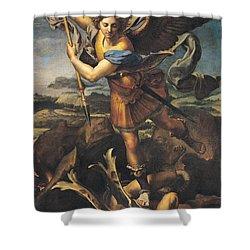 Saint Michael Overwhelming The Demon Shower Curtain by Raphael