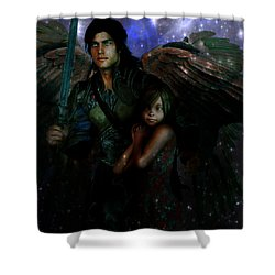 Shower Curtain featuring the painting Saint Michael Protect Us by Suzanne Silvir