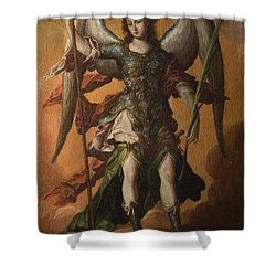 Shower Curtain featuring the painting Saint Michael The Archangel by Celestial Images