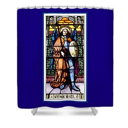 Saint Michael The Archangel Stained Glass Window Shower Curtain by Rose Santuci-Sofranko