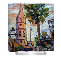 Saint Michaels Church Charleston Sc Oil Painting Shower Curtain by Ginette Callaway