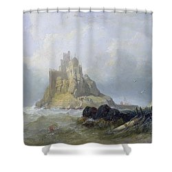 Saint Michael's Mount In Cornwall  Shower Curtain by William Clarkson Stanfield