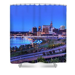 Saint Paul Minnesota Skyline Blue Morning Light Shower Curtain