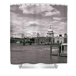Shower Curtain featuring the photograph Saint Pauls Cathedral Along The Thames by Nop Briex