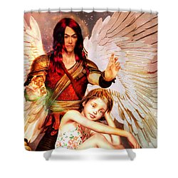 Shower Curtain featuring the painting Saint Raphael Heals by Suzanne Silvir