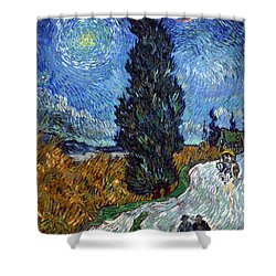 Saint-remy Road With Cypress And Star Shower Curtain