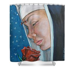 Saint Rita Of Cascia Shower Curtain by Bryan Bustard