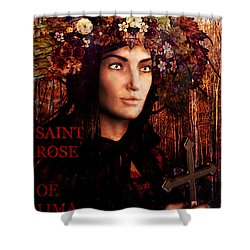 Shower Curtain featuring the painting Saint Rose Of Lima by Suzanne Silvir