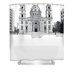 Shower Curtain featuring the drawing Saint Stephens Basilica by Frederic Kohli