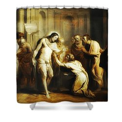 Saint Thomas Touching Christ's Wounds Shower Curtain by Bill Cannon