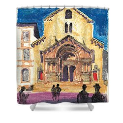 Shower Curtain featuring the painting Saint Trophime Arles Provence by Martin Stankewitz
