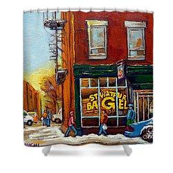 Saint Viareur And Park Avenue Bagel Shop Shower Curtain by Carole Spandau