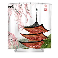 Sakura At Gojunoto Pagoda Shower Curtain
