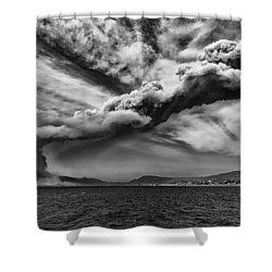 Sakurajima Volcano Shower Curtain