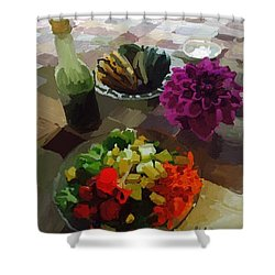 Salad And Dressing With Squash And Dahlia Shower Curtain