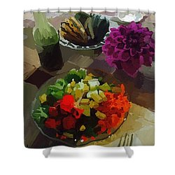 Salad And Dressing With Squash And Purple Dahlia Shower Curtain